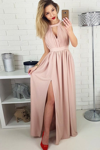 A-Line Jewel Floor-Length Blush Chiffon Prom Dress with Keyhole PDA596 | ballgownbridal