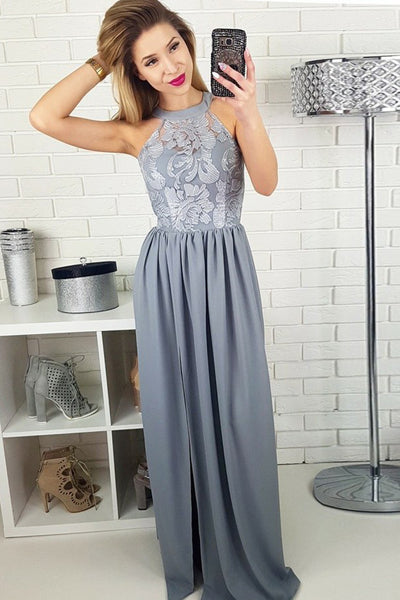 A-Line Jewel Floor-Length Grey Chiffon Prom Dress with Lace PDA595 | ballgownbridal