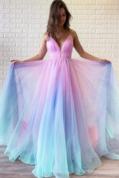 A Line Spagheeti Straps Gradient Chiffon Long Prom Dresses Floor Length Prom Dress PDA563 | ballgownbirdal
