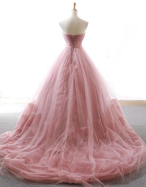 Ball Gown Prom Dresses Sweetheart Sweep Train Dusty Pink Long Fairy Prom Dress PDA570 | ballgownbridal