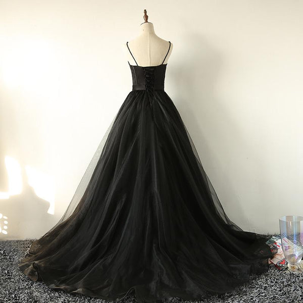 Ball Gown Spaghetti Straps Black Tulle Prom Dress Long Brush/Sweep Train Prom Dress PDA572
