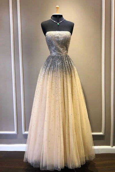 Champagne Tulle Strapless Sequins Long Prom Dress PDA549 | ballgownbridal