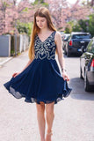 Cute Deep Blue Chiffon V Neck Short Beaded Homecoming Dress PDA583 | ballgownbridal