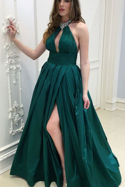 Dark Green Keyhole Beading Long Slit Backless Prom Dress PDA587 | ballgownbridal