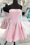Fashion Pink Satin Strapless Mini Bridesmaid Dress PDA590 | ballgownbridal