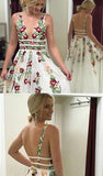 A Line V Neck Flower Appliques Prom Dresses, Long Evening Dresses