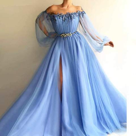 Elegant Blue Long Sleeves Off the Shoulder Beaded Crystal Side Slit Prom Dresses