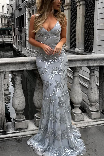 Sexy V-Neck Mermaid Sequined Lace Spaghetti Strips Backless Long Prom Dresses GY107