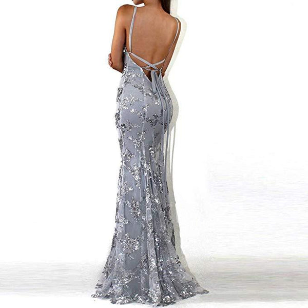 Sexy V-Neck Mermaid Sequined Lace Spaghetti Strips Backless Long Prom Dresses