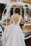 V neck Tulle Lace Long Wedding Dress,Tulle Ball Gown Prom Dress With Appliques