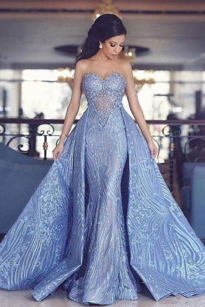 Elegant Sweetheart Mermaid Prom Dress With Detachable Train,Fashion Blue Evening Dresses  GY116