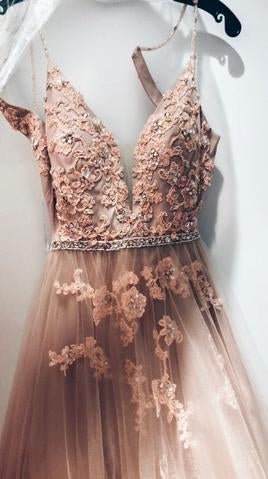 Sweetheart Spaghetti Straps Lace Appliques Floor Length Prom Dress, Formal Evening Dress