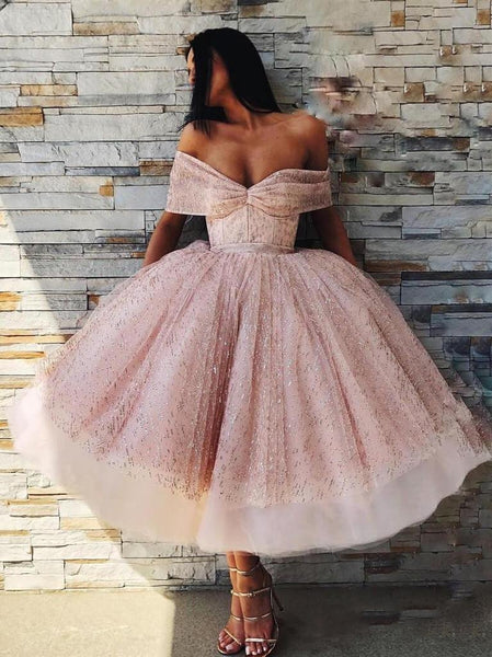 Off the Shoulder Sparkly Pink Tea Length Ball Gown Prom Dresses