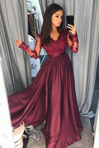 Burgundy Long Sleeves V Neck Lace Top A Line Long Prom Dresses GY140