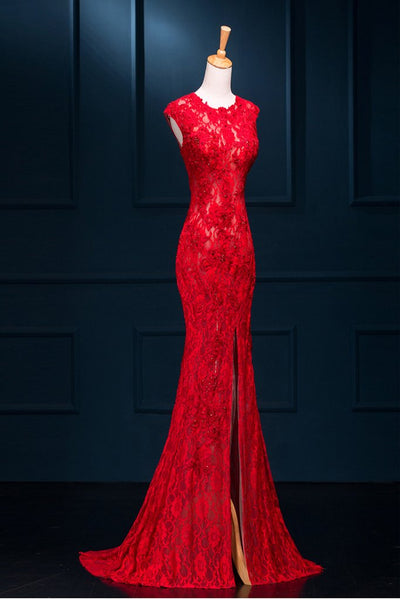Long Sexy Red Lace See Through Split Mermaid Prom Evening Dresses  143