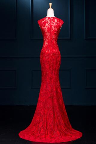 Long Sexy Red Lace See Through Split Mermaid Prom Evening Dresses