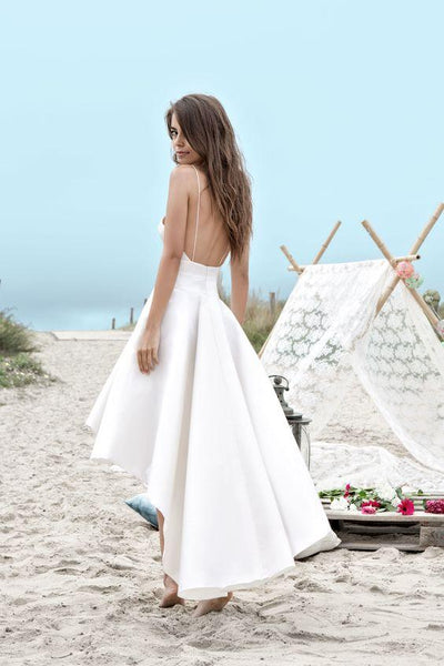 Charming Spaghetti Straps V Neck Long High Low Wedding Dresses,White Short Homecoming Dress