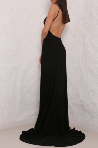 Sexy High Slit Black Open Back Prom Dresses, Elegant Long Black Woman Evening Gown