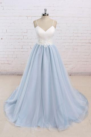 Baby Blue Tulle Long Simple Flower Senior Prom Dress With White Top,Long Tulle Evening Dress  GY152