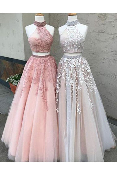 New A Line Two Pieces High Neckline Long Lace Formal Prom Dress