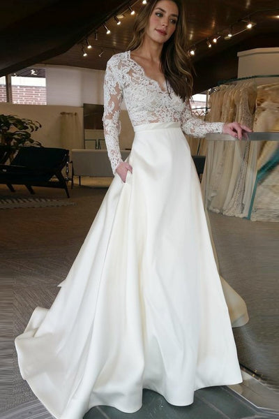 Elegant A-Line V-Neck Long Sleeves Off White Floor Length Prom/Wedding Dress With Lace Top GY174