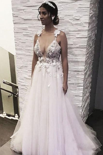 Floral Open Back Deep V-neck Straps Tulle Appliques Prom Dress,, Floral Princess Wedding Dress