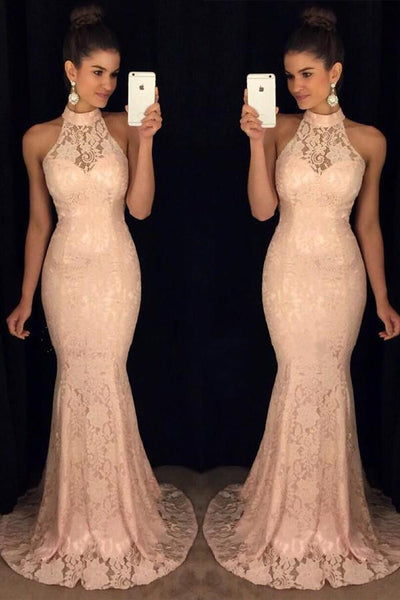 New Arrival Pink Lace High Neck Mermaid Prom Dresses  GY186