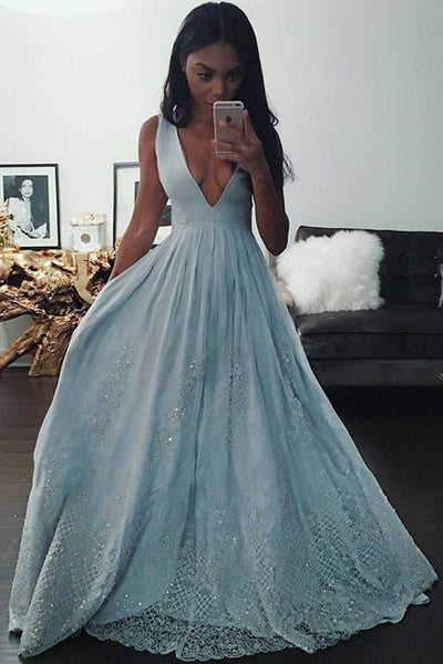 Fashion Light Blue A-line V Neck Long Prom Dresses With Lace Appliques  GY195