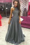 O-Neck Beading A-Line Long Cheap Prom Dresses,Grey Evening Dress For Women GY198