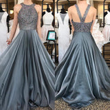 O-Neck Beading A-Line Long Cheap Prom Dresses,Grey Evening Dress For Women
