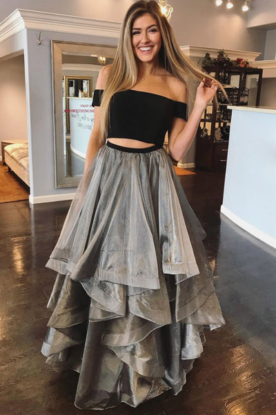 Gray Tulle 2 Pieces Layered Long Prom Dress PDA555 | ballgownbridal