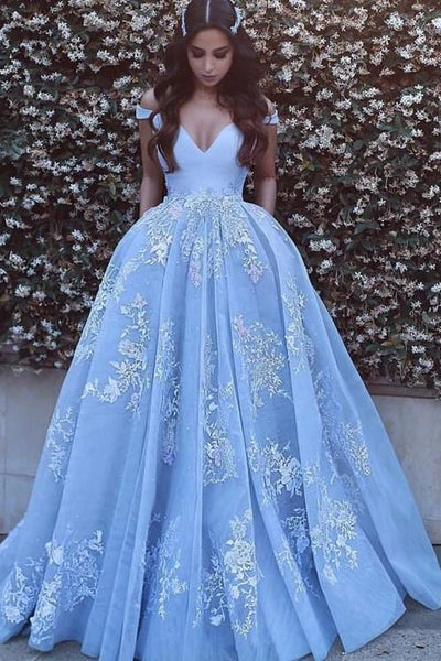 Luxury Prom Dresses Ball Gown Off-the-shoulder Sexy Prom Dress/Evening Dress PDA607 | ballgownbridal