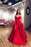 Red Satin A-line V-neck Spaghetti Straps Long Prom Dress with Slit PDA603 | ballgownbridal