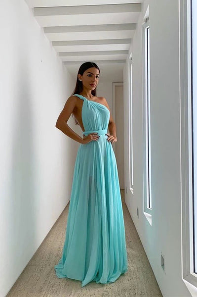Simple Blue Chiffon One Shoulder Long Prom Dress PDA591 | ballgownbridal