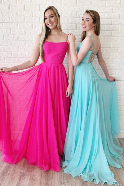 Simple Long Square Neckline Lace Up Open Back Prom Dress PDA553 | ballgownbridal