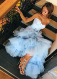 Sky Blue Tulle Sweetheart Neck Long Layered Evening Dress PDA556 | ballgownbridal