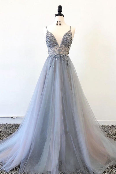 Sparkly Prom Dresses Aline Spaghetti Straps Long Grey Prom Dress Fashion Evening Dress PDA564 | ballgownbridal