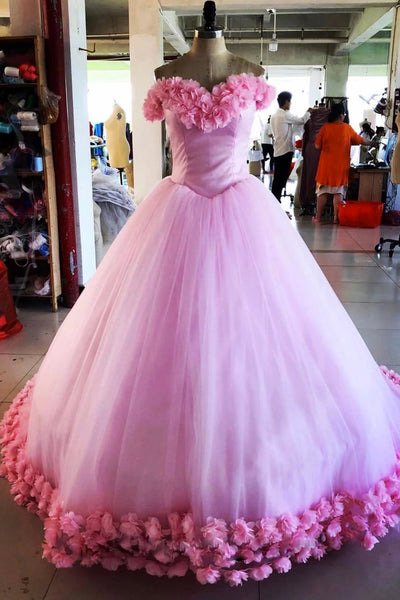 Sweetheart Pink Tulle Princess 3D Lace Prom Dress PDA547 | ballgownbridal