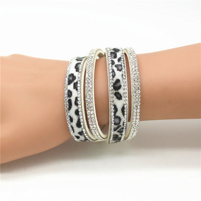 Women's Leopard Bling Double Wrap Bracelet or Chocker Free Shipping