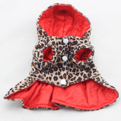 Leopard and Red Coat Doggie Dress Free Shipping