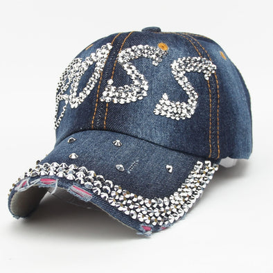 Boss Denim Bling Baseball Cap Free shipping
