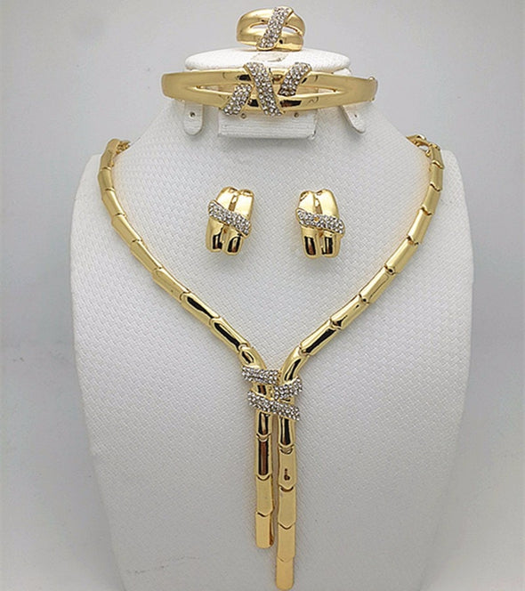 Womens Stunning Three Piece Gold Necklace Set Free Shipping