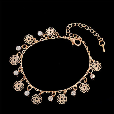 Women Gold Flower Pendant Bling Anklet Free Shipping