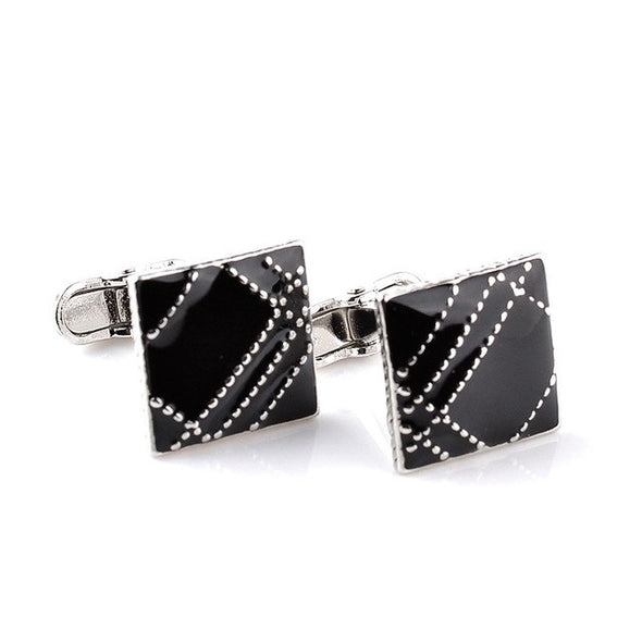 Unisex Luxury Black Square Bling Cuff Links Free Shipping
