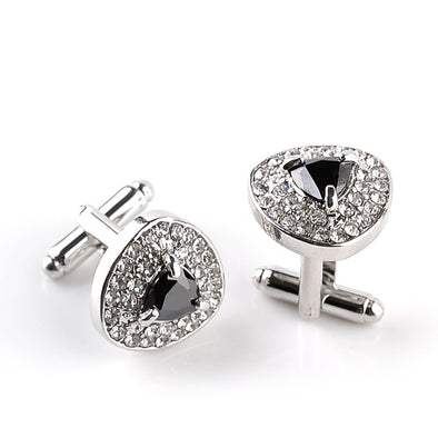 Unisex Black and Bling Tie and Cuff Links Free Shipping