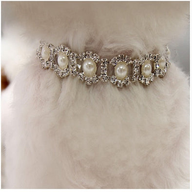 Bling Rhinestone Pearl Necklace Bling Dog Collar Free Shipping