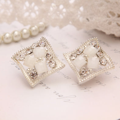 Womens White and Silver Plated Stud Bling Earrings Free Shipping