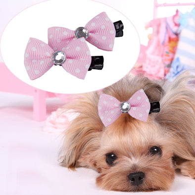 Bling Puppy Hair Bows Pet Jewelry Free Shipping