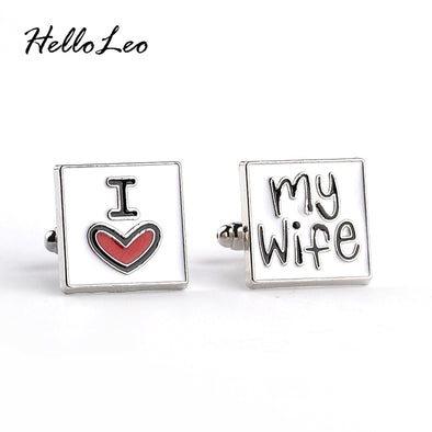Mens I Love My Wife Bling Cuff Links Free Shipping