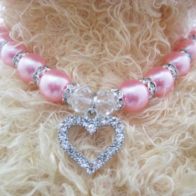 Pink and Bling Pearl Pet Necklace Pet Jewelry Free Shipping